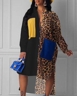 Leopard Colorblock Insert Dip Hem Shirt Dress