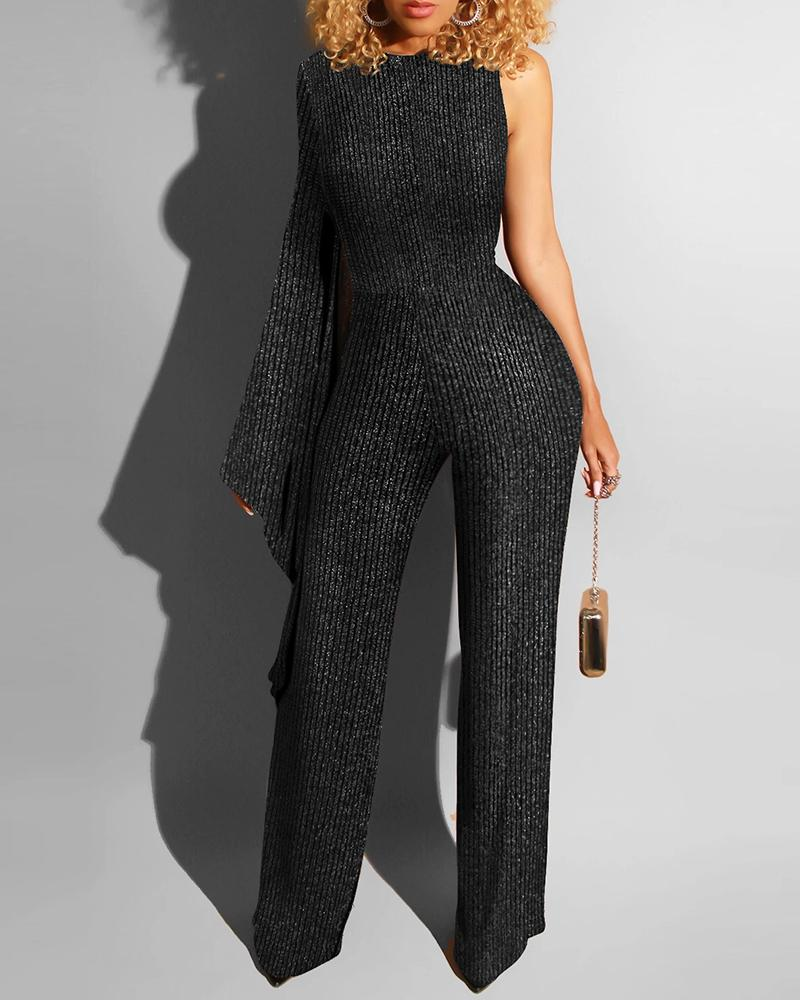 Glitter One Shoulder Zipper Jumpsuit