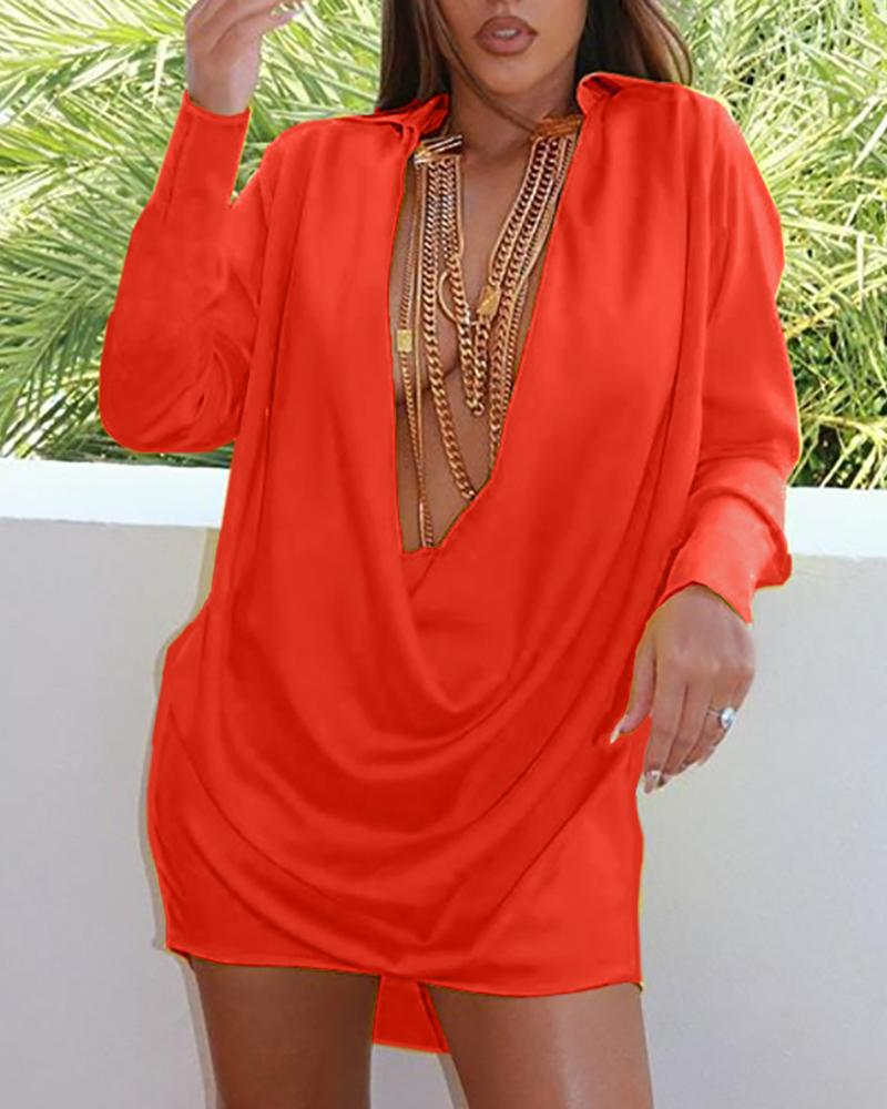 Solid Deep V-Neck Long Sleeve Dress