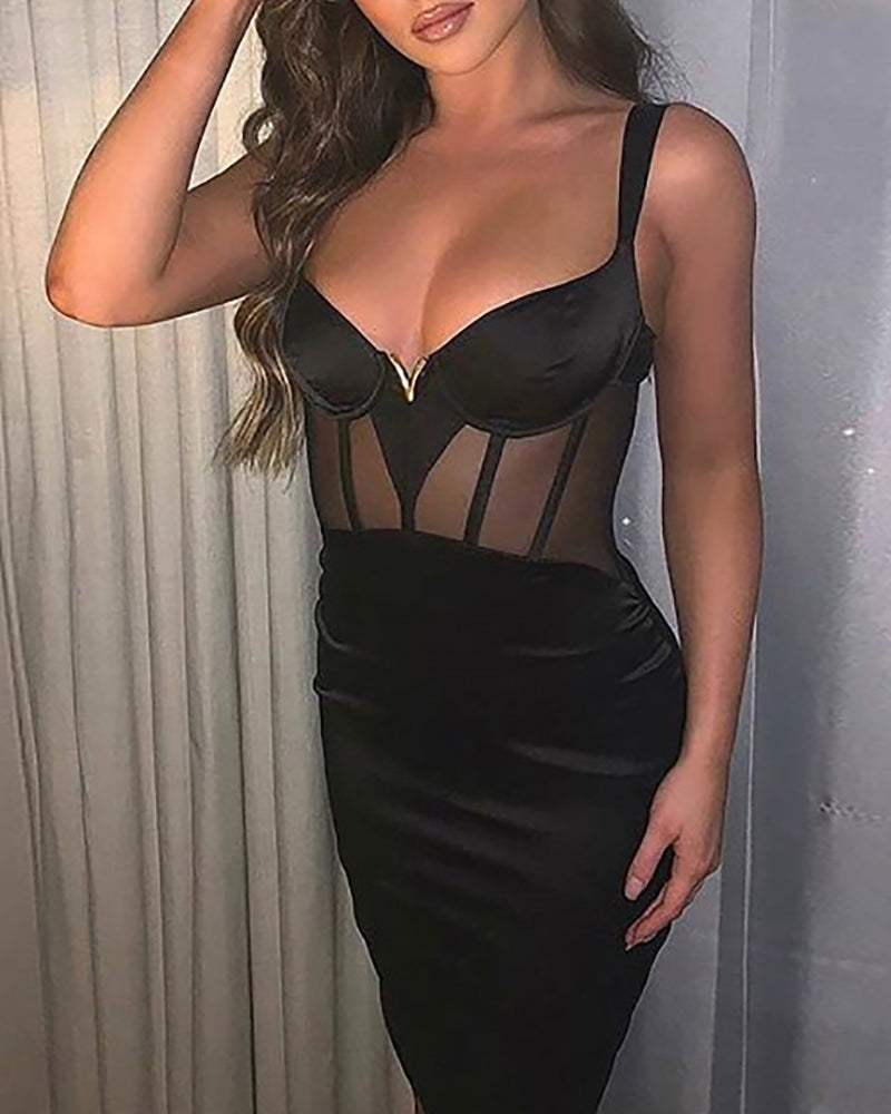 Solid Thin Strap Sheer Mesh Insert Bodycon Dress