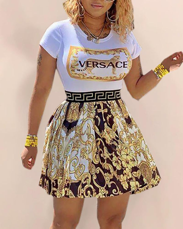 Printed High Waist Splicing Dress