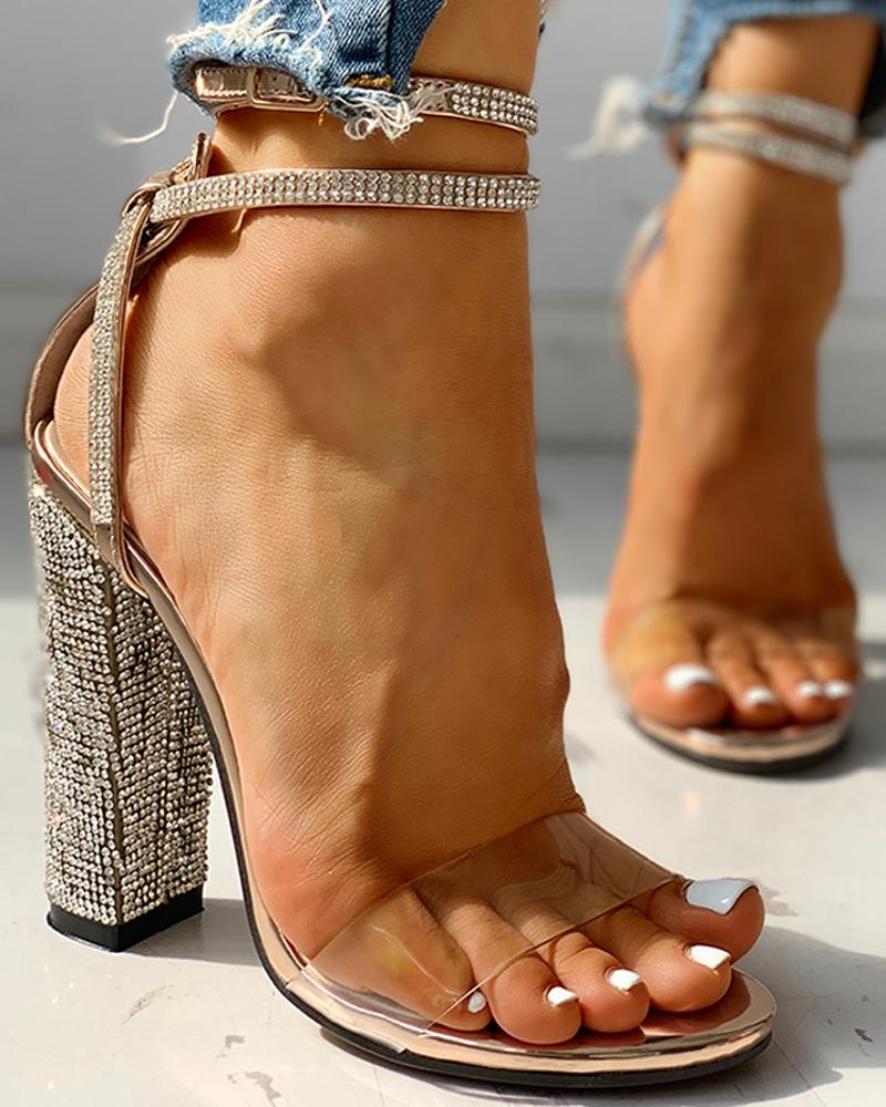 Transparent Strap Studded Chunky Heeled Sandals