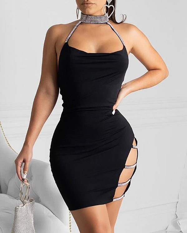 Sequins Choker Ladder Cutout Side Party Dress