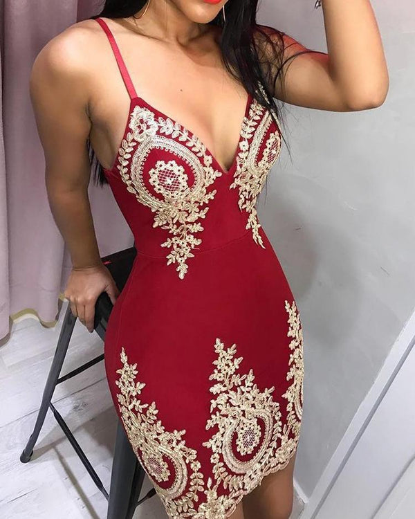 Spaghetti Strap Deep V Lace Embroidery Dress