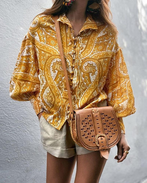 Artistic Print Button-Up Blouse