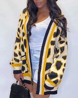 Leopard Print Stripe Knitting Cardigan Coat