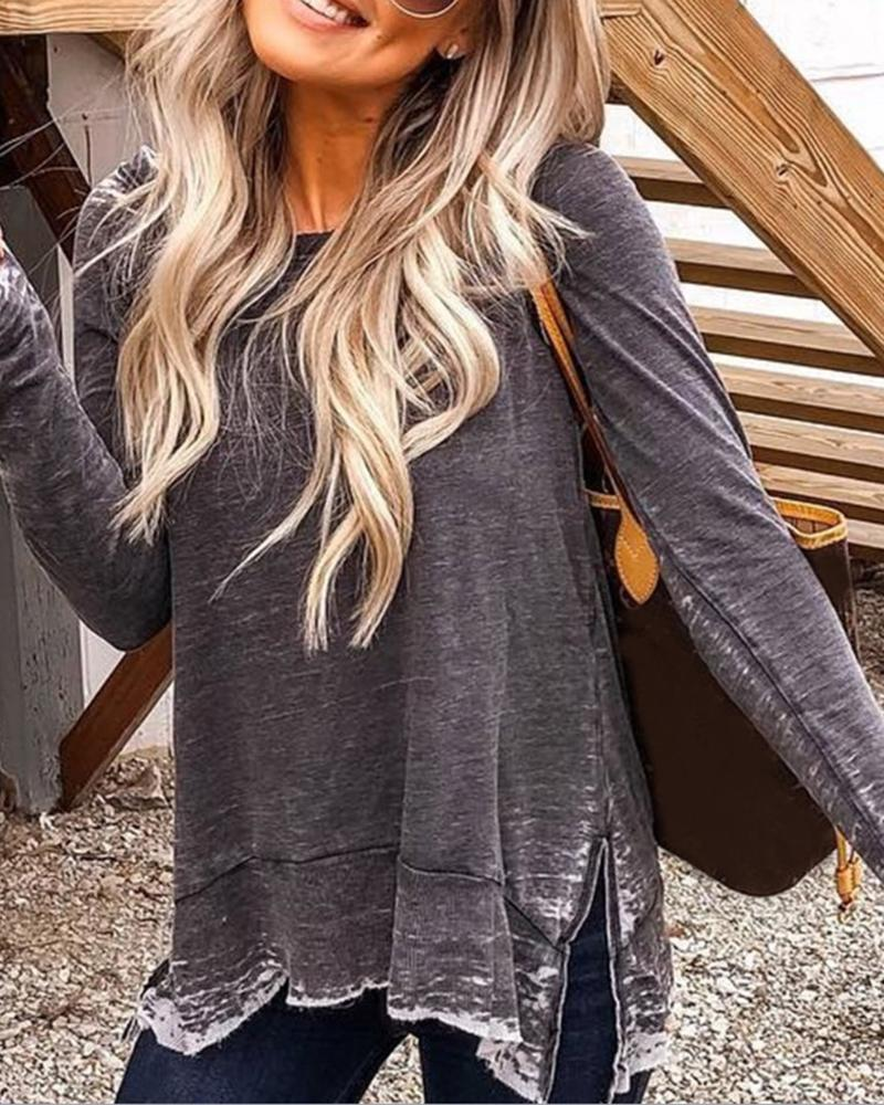 Solid Round Neck Side Slit Long Sleeve T-shirt