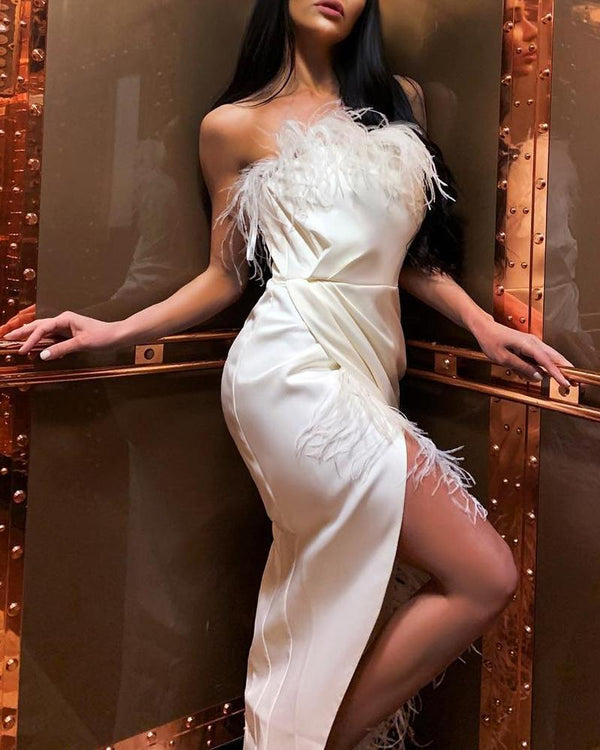 Solid Feather Design High Slit Maxi Dress