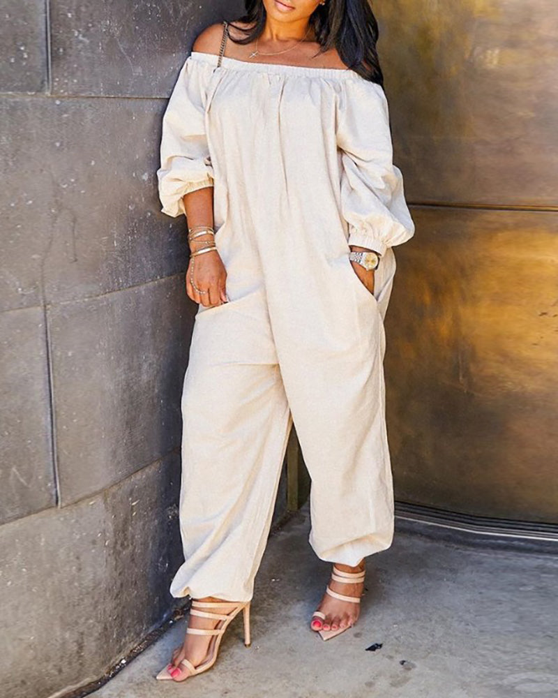Off Shoulder Solid Lantern Sleeve Jumpsuit
