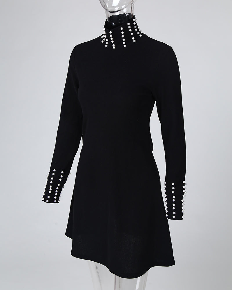 Beaded High Neck Long Sleeve Ruffles Dress