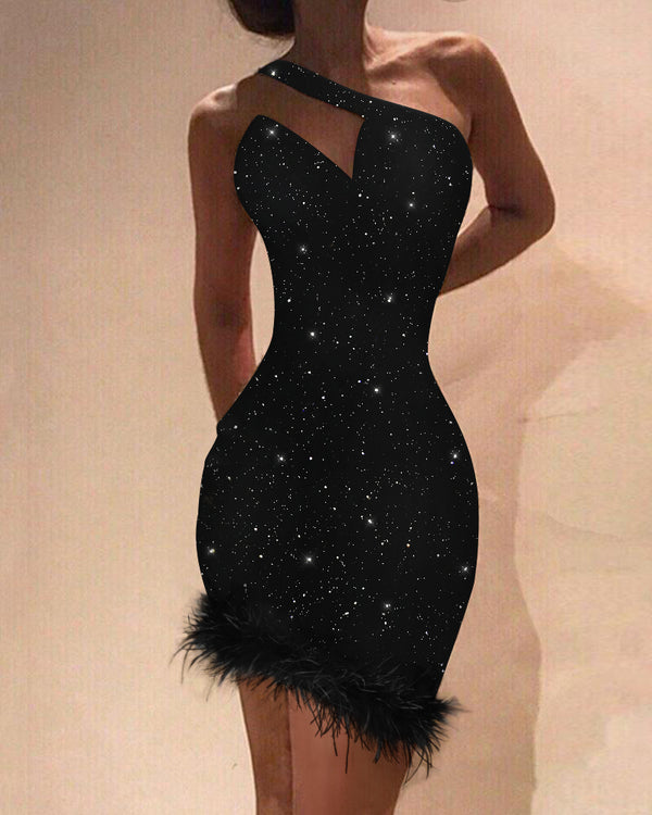 Glitter One Shoulder Fluffy Party Dress