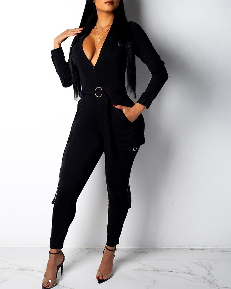Solid Turn-down Collar Pocket Cargo Jumpsuit