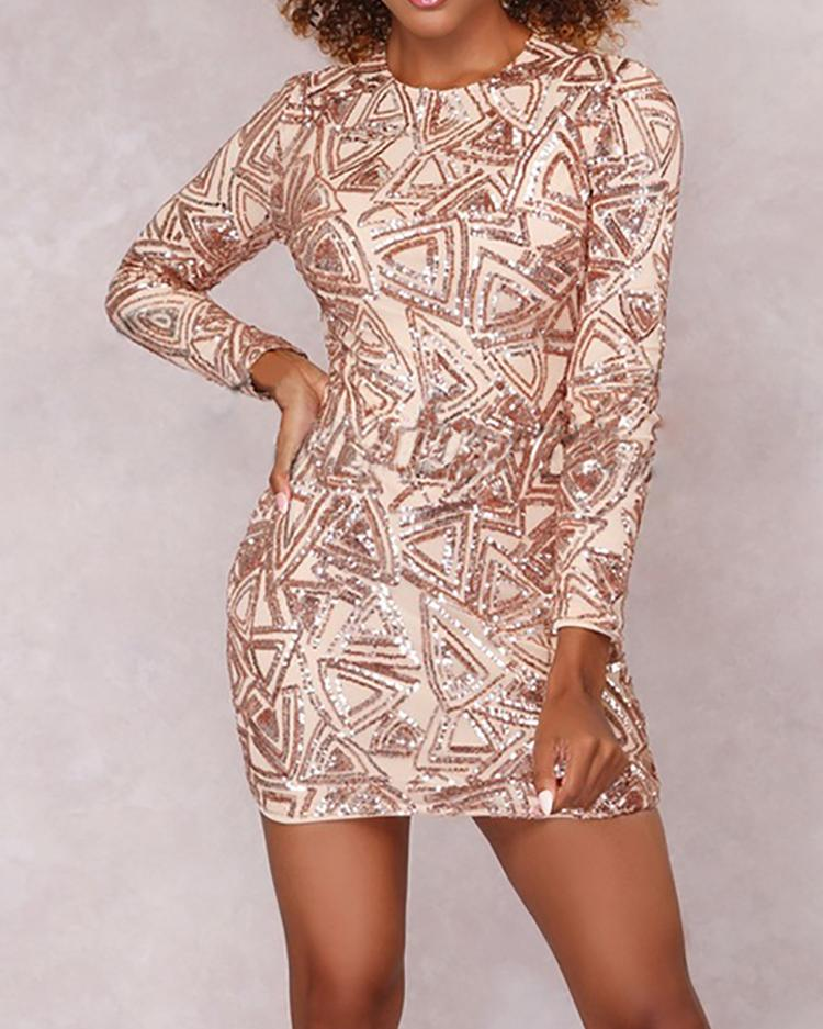 Geometric Sequins Bodycon Mini Dress