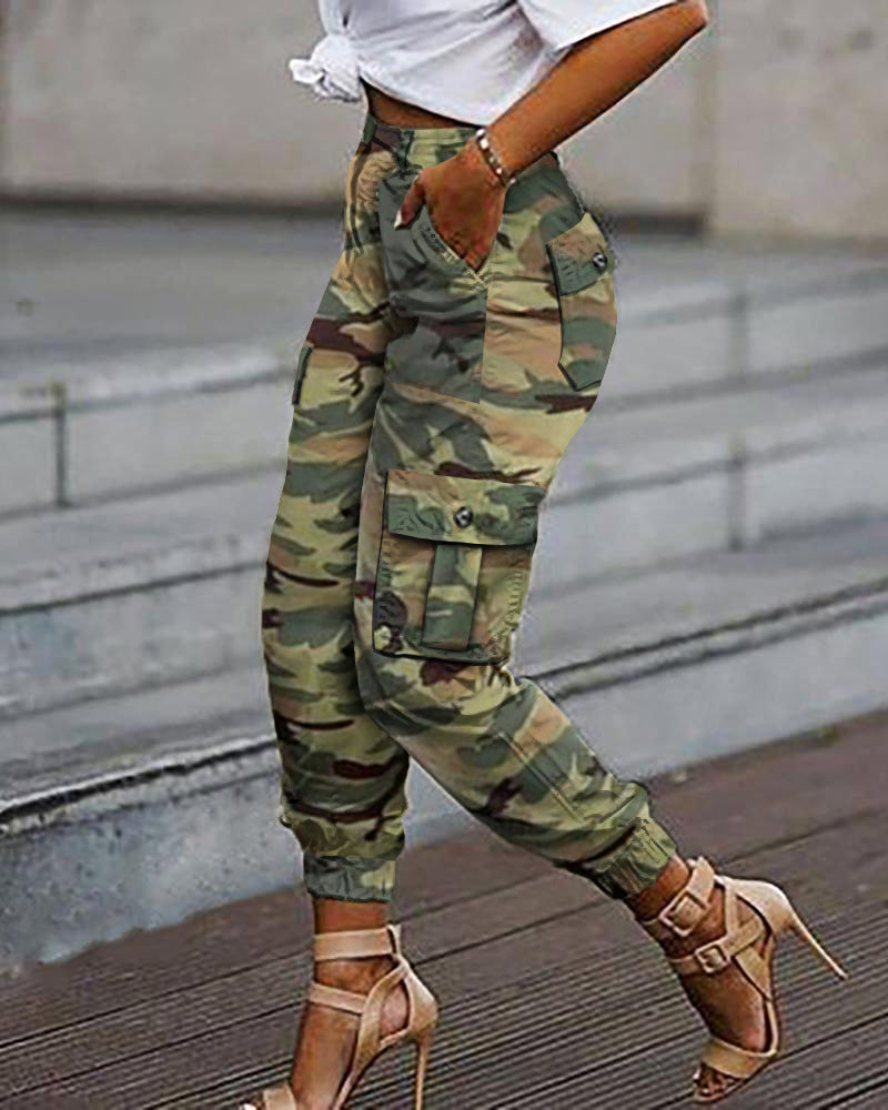 Camouflage Print Pockets Design Casual Cargo Pants