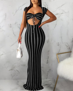 Striped Cutout Bodycon Dress With Knotted Bra