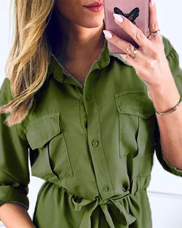 Turn-down Collar Buttoned Cargo Dress