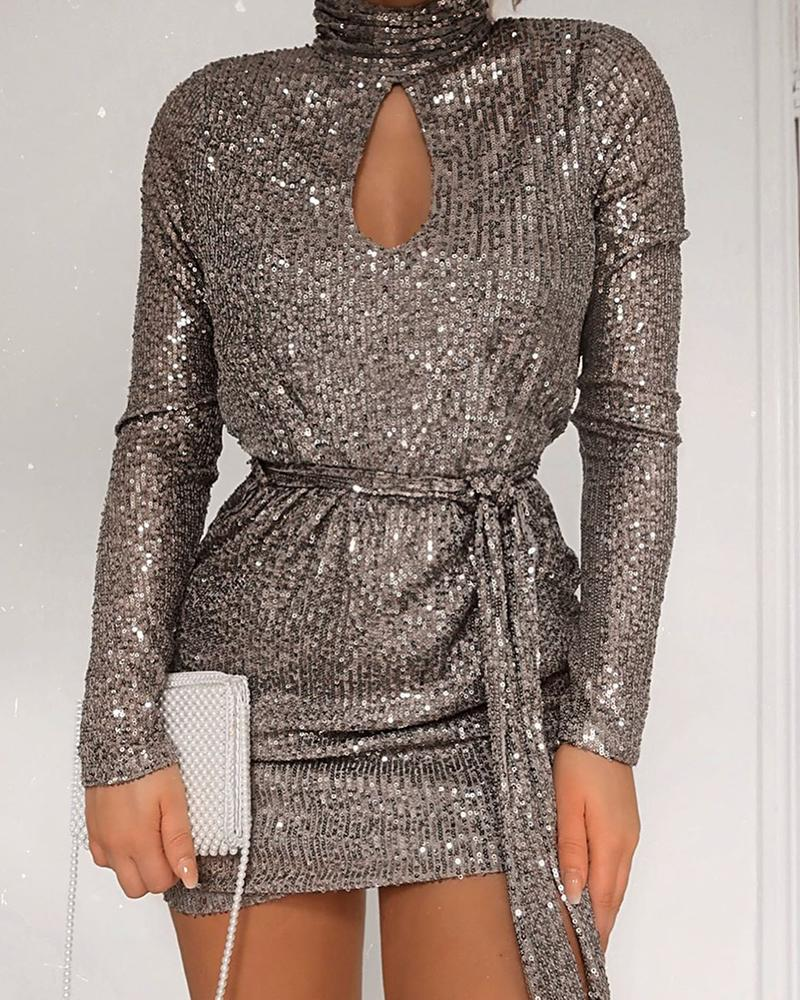Sequined Keyhole Tie Waist Dress