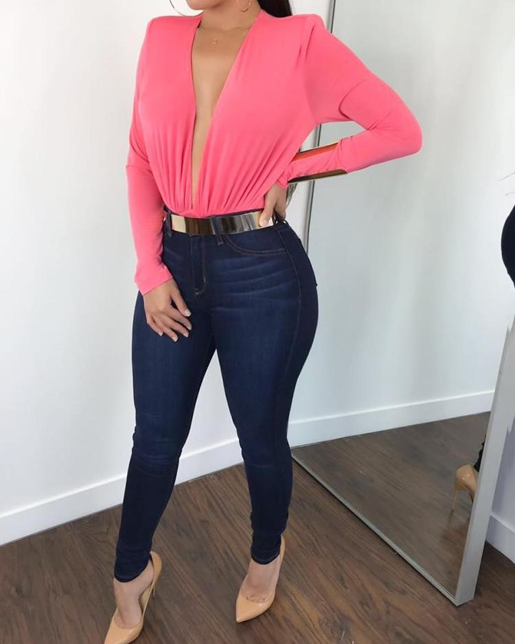Deep V Long Sleeve Solid Color Bodysuit