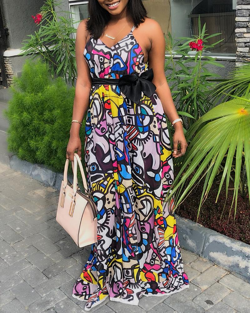 Abstract Print Sling Maxi Dress