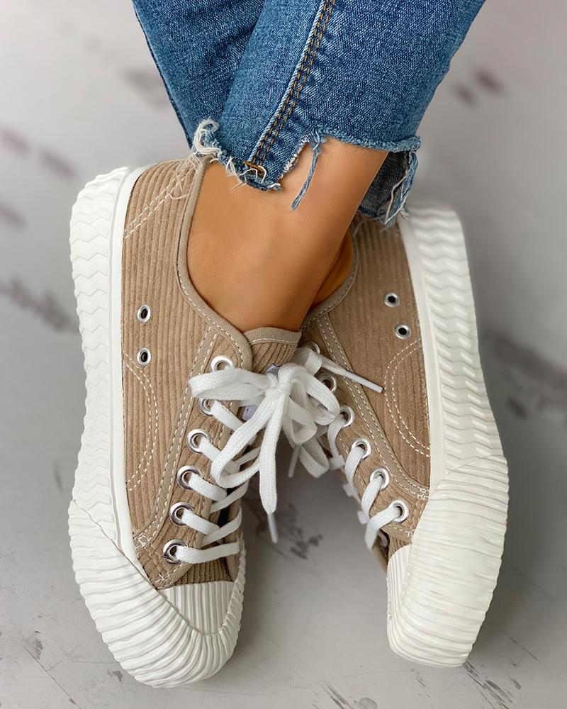 Colorblock Casual Lace-Up Sneakers