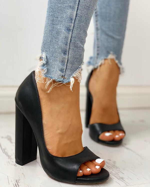 Solid Peep Toe Casual Heeled Sandals