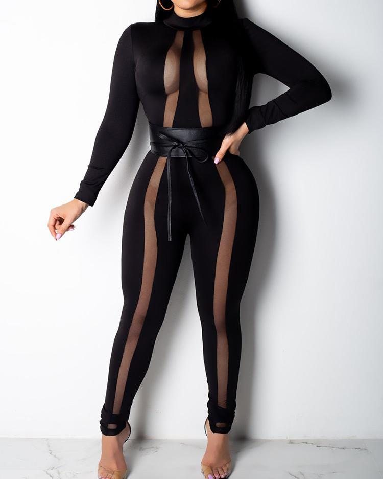 Sheer Mesh Insert Belted Jumpsuit