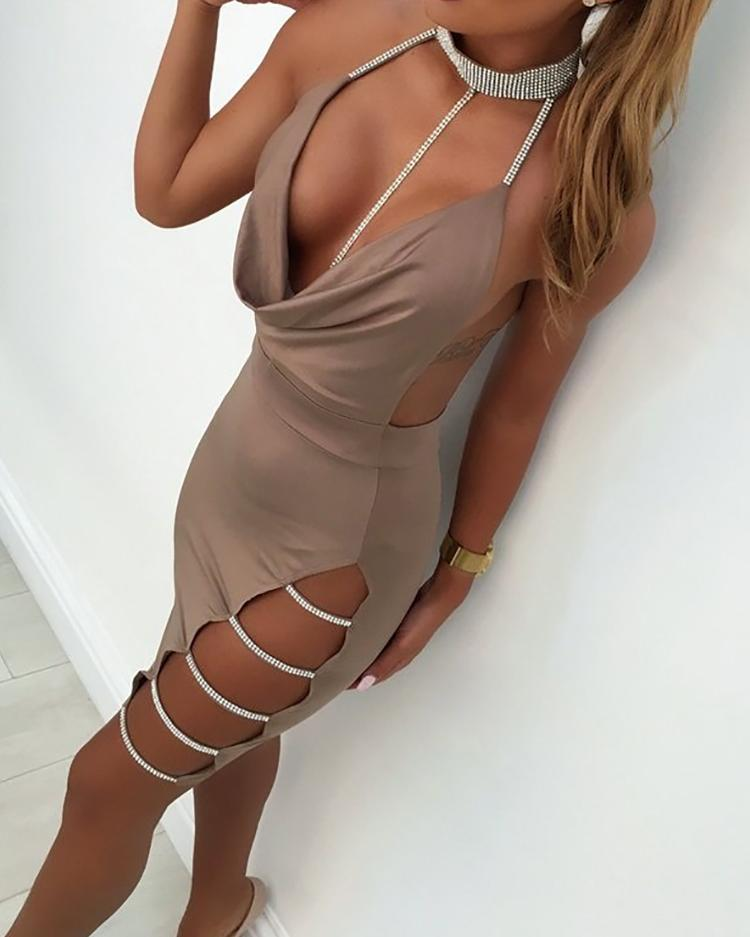 Sequins Ladder Cutout Open Back Bodycon Dress