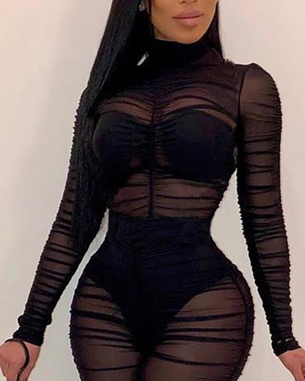 See Through Mesh Ruched Design Jumpsuit