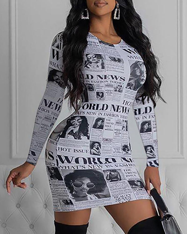 Round Neck Long Sleeve Newspaper Print Bodycon Dress