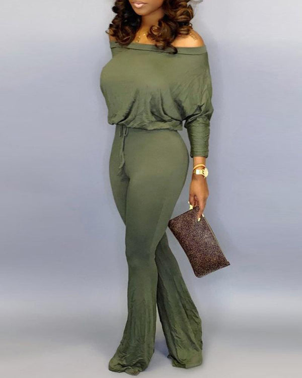 Solid Off Shoulder Batwing Sleeve Drawstring Jumpsuit