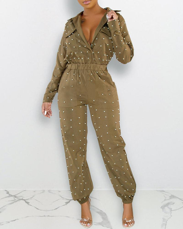 Beaded Turn-down Collar Pocket Design Cargo Jumpsuit