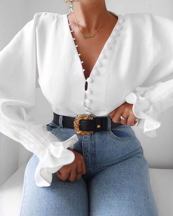 Button Front Bell Sleeve Top