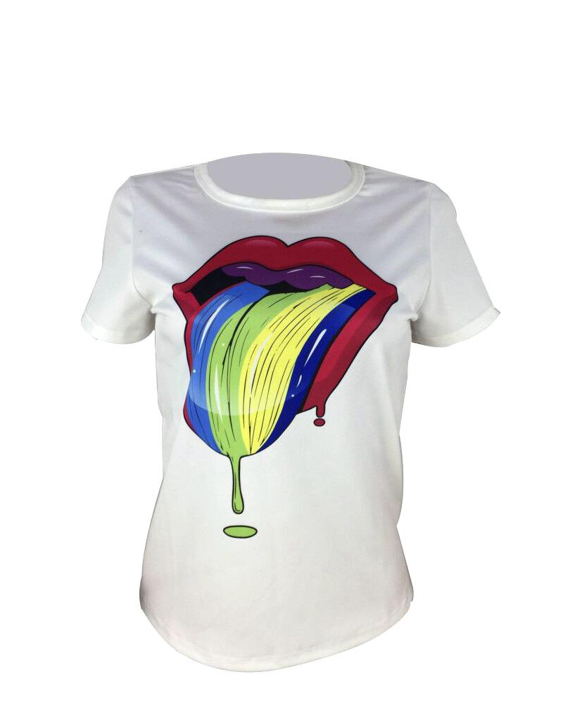 Colorful Lips Short Sleeve T-Shirt