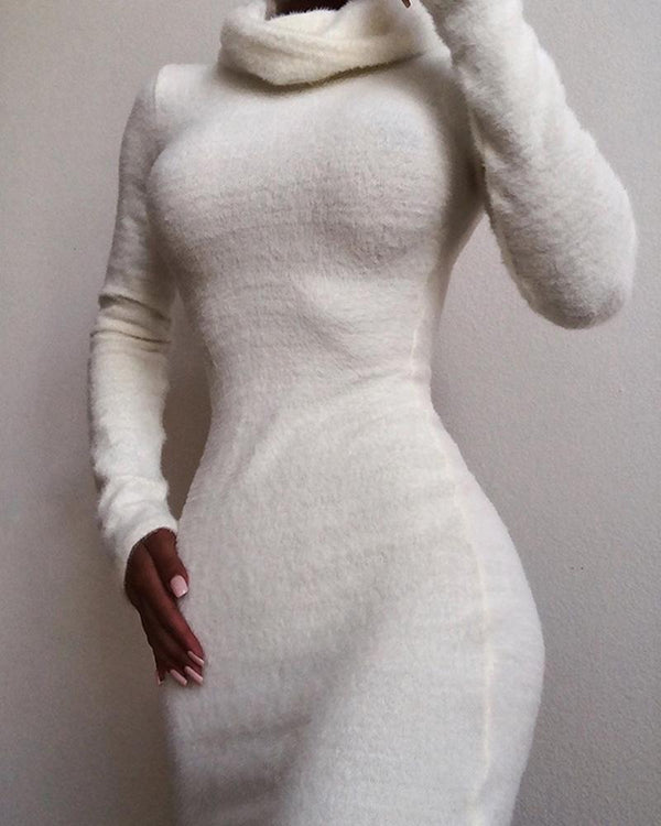 Solid High Neck Fluffy Bodycon Dress