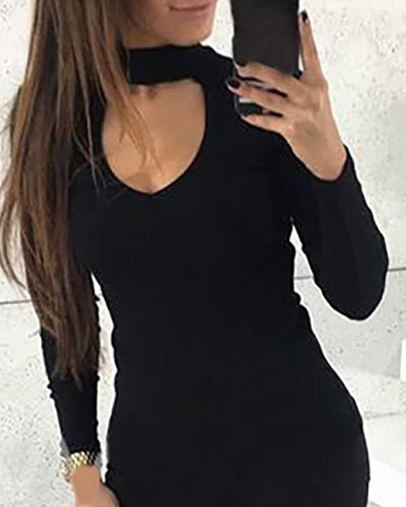 Solid Cut Out Chest Long Sleeve Blouse