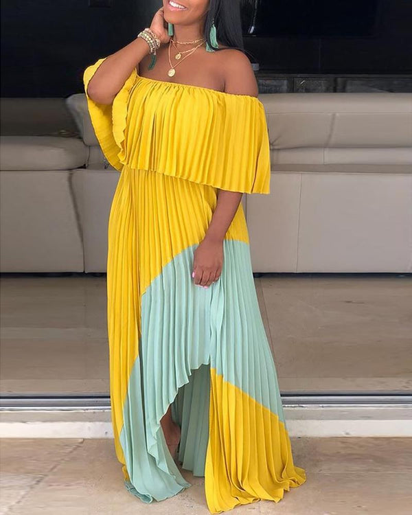 Off Shoulder Pleated Stitching Maxi Dress