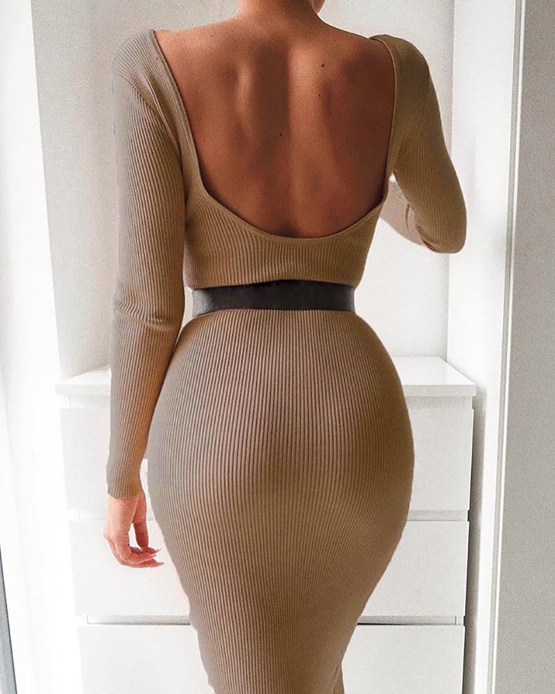 Solid Round Neck Backless Ribbed Sweater Bodycon Dress