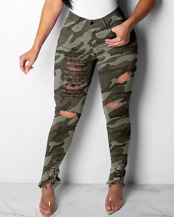 Camouflage Distressed High Waist Jeans