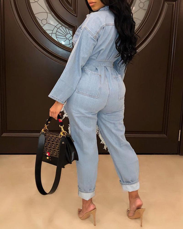 Distressed Holey Buttoned Denim Jumpsuit