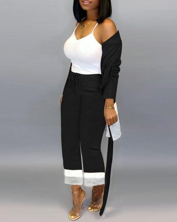 Colorblock Tied Waist Coat & Casual Drawstring Design Pant Sets
