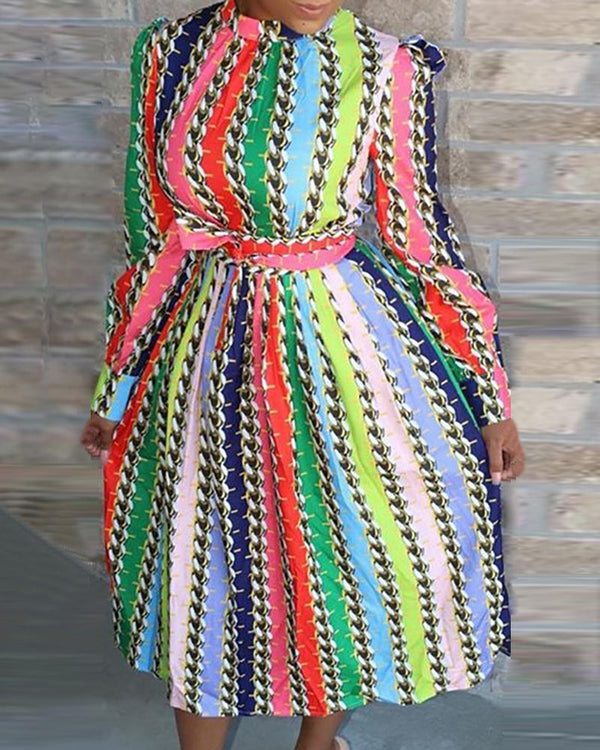 Multicolor Vertical Striped Chain Puff Sleeve Dress