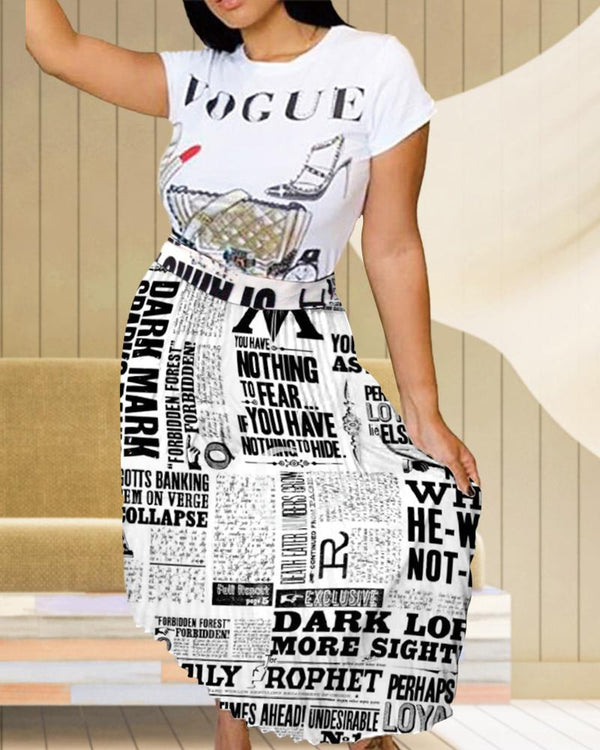 Newspaper Pleated Casual Skirts