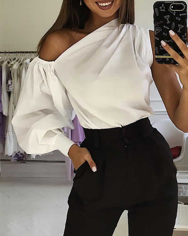 Solid One Shoulder Lantern Sleeve Blouse