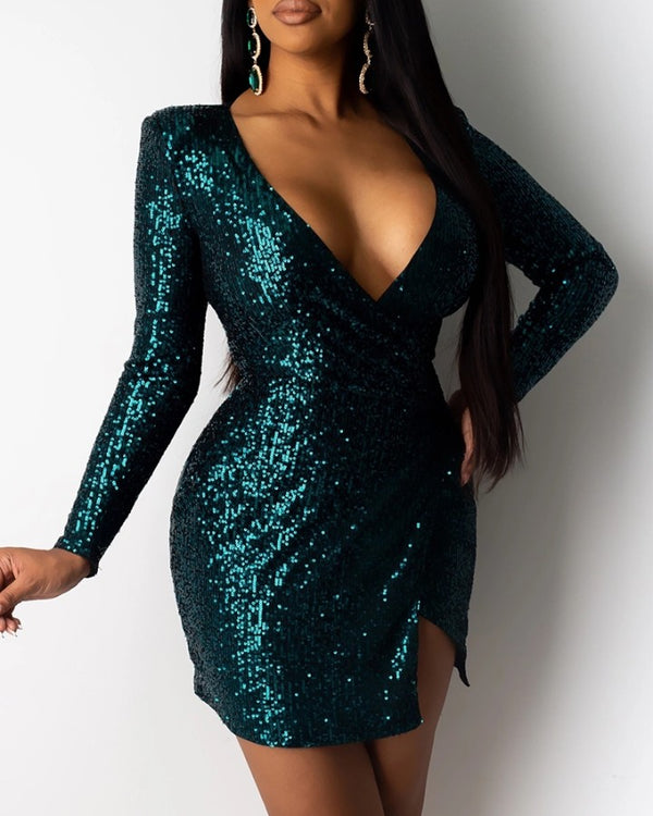 Glitter Plunge Irregular Sequins Dress