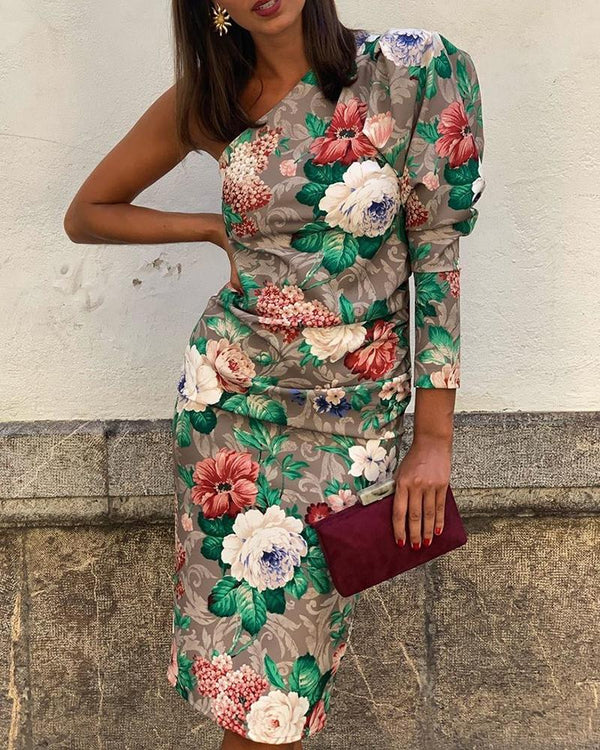 One Shoulder Puff Sleeve Floral Print Dress