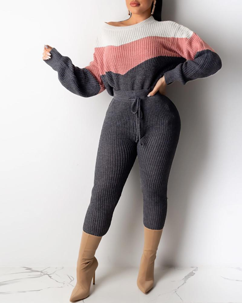 Ribbed Colorblock Long Sleeve Top & Pant Sets