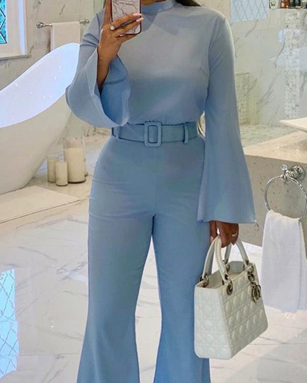 Solid Flare Leg Belted Jumpsuit