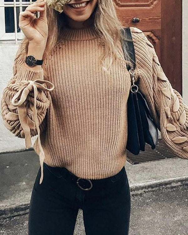 Solid Tied Cuff Casual Sweater