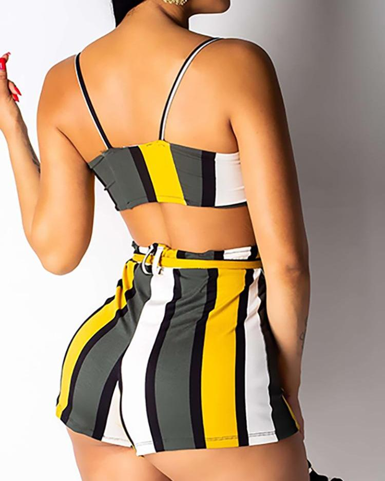 Colorful Striped Knotted Bra Top & Shorts Set