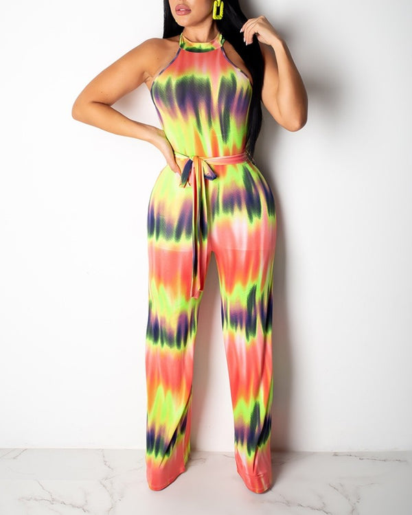 O-neck Sleeveless Print Wide Leg Jumpsuit